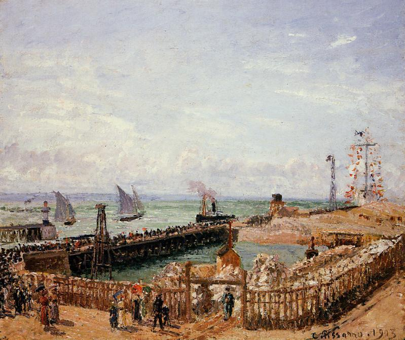 famous painting The Jetty, Le Havre, High Tide, Morning Sun of Camille Pissarro