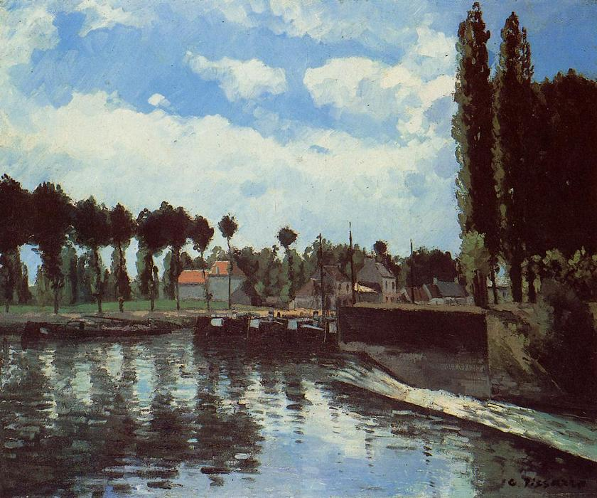 famous painting The Lock at Pontoise of Camille Pissarro