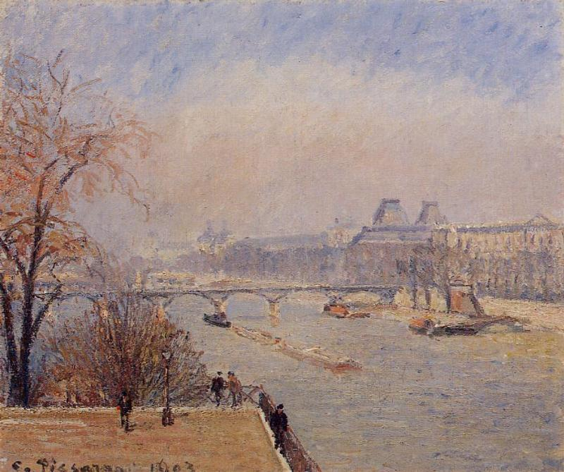 famous painting The Louvre, March Mist of Camille Pissarro