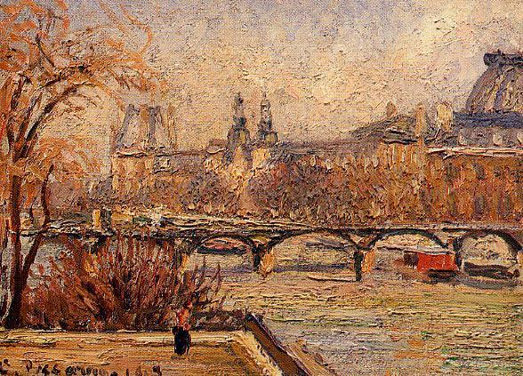 famous painting The Louvre, Morning of Camille Pissarro