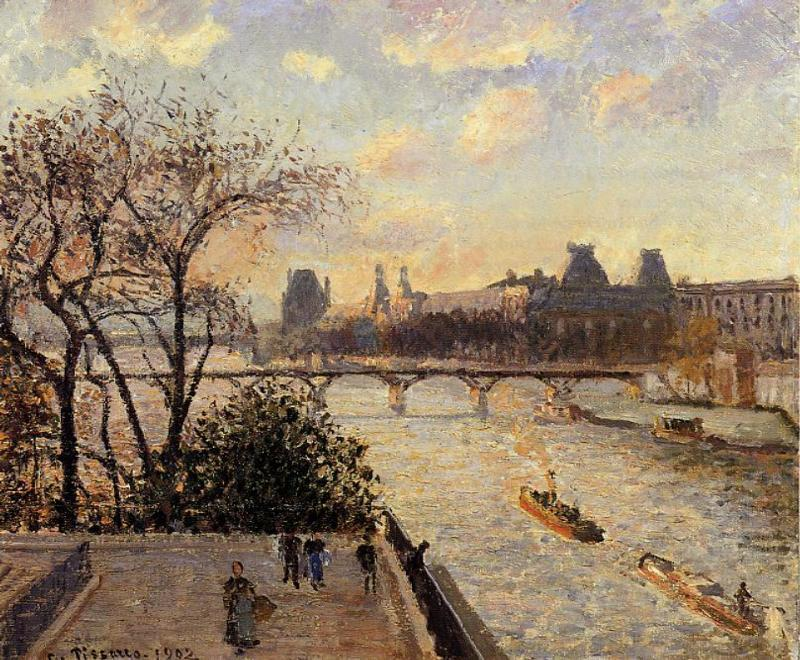 famous painting The Louvre and the Seine from the Pont Neuf of Camille Pissarro