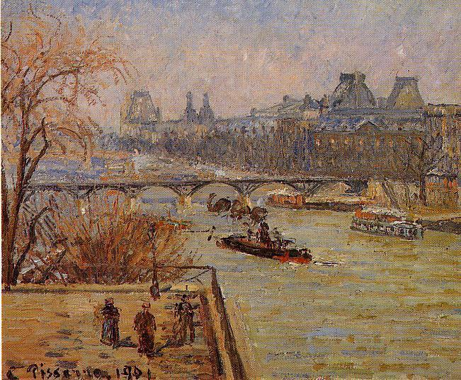 famous painting The Louvre of Camille Pissarro