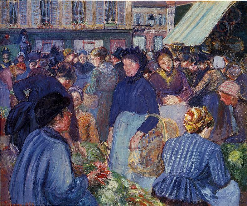 famous painting The Market at Gisors of Camille Pissarro
