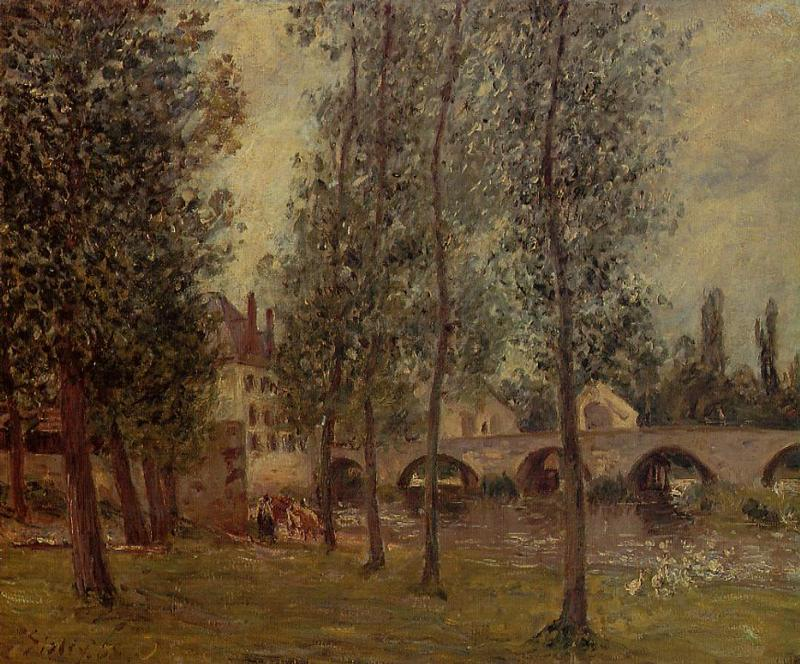 famous painting The Moret Bridge of Camille Pissarro