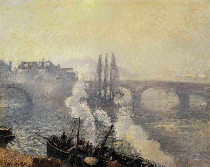 famous painting The Pont Corneille, Rouen, Morning Mist of Camille Pissarro