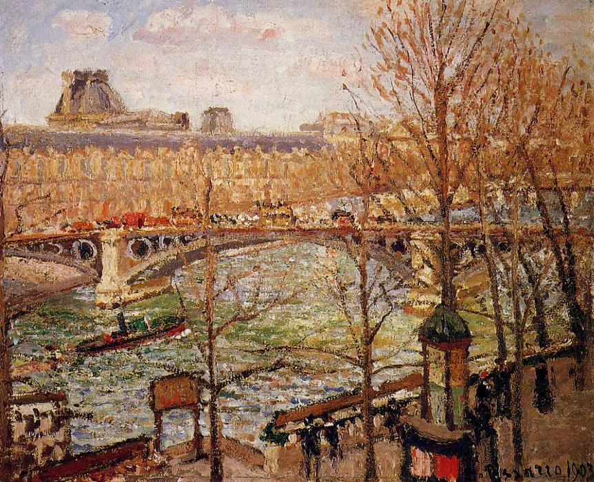 famous painting The Pont du Carrousel, Afternoon of Camille Pissarro