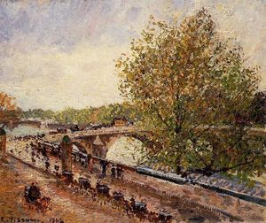Camille Pissarro - The Pont Royal, Grey Weather, Afternoon, Spring