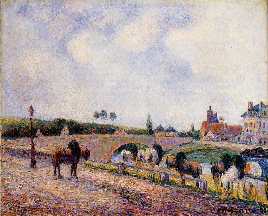 famous painting The Pontoise Bridge of Camille Pissarro