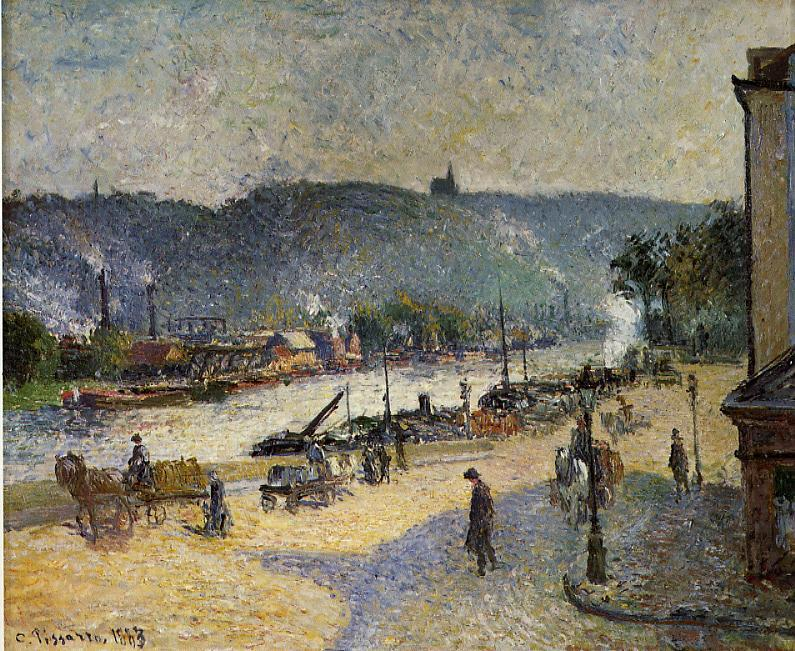 famous painting The Quays at Rouen of Camille Pissarro