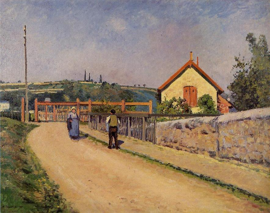 famous painting The Railroad Crossing at Les Patis of Camille Pissarro