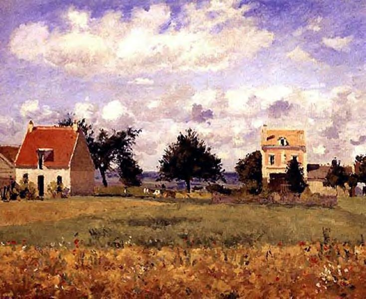 famous painting The Red House of Camille Pissarro