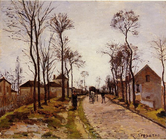famous painting The Road to Caint-Cyr at Louveciennes of Camille Pissarro