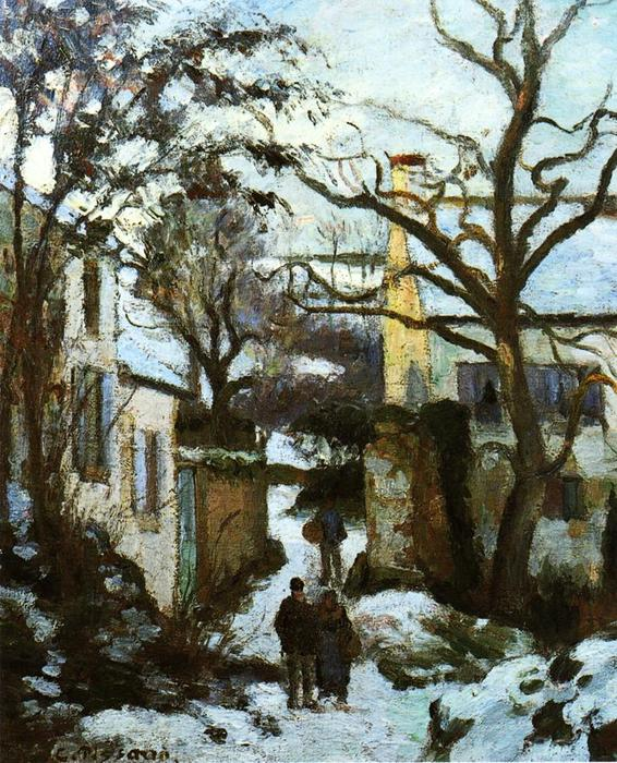 famous painting The Road to L'Hermitage in Snow of Camille Pissarro