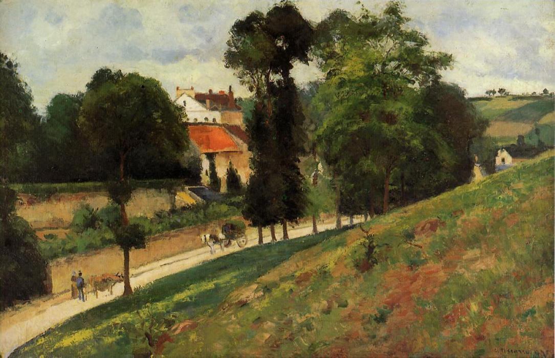 famous painting The Saint Antoine Road at l'Hermitage, Pontoise of Camille Pissarro