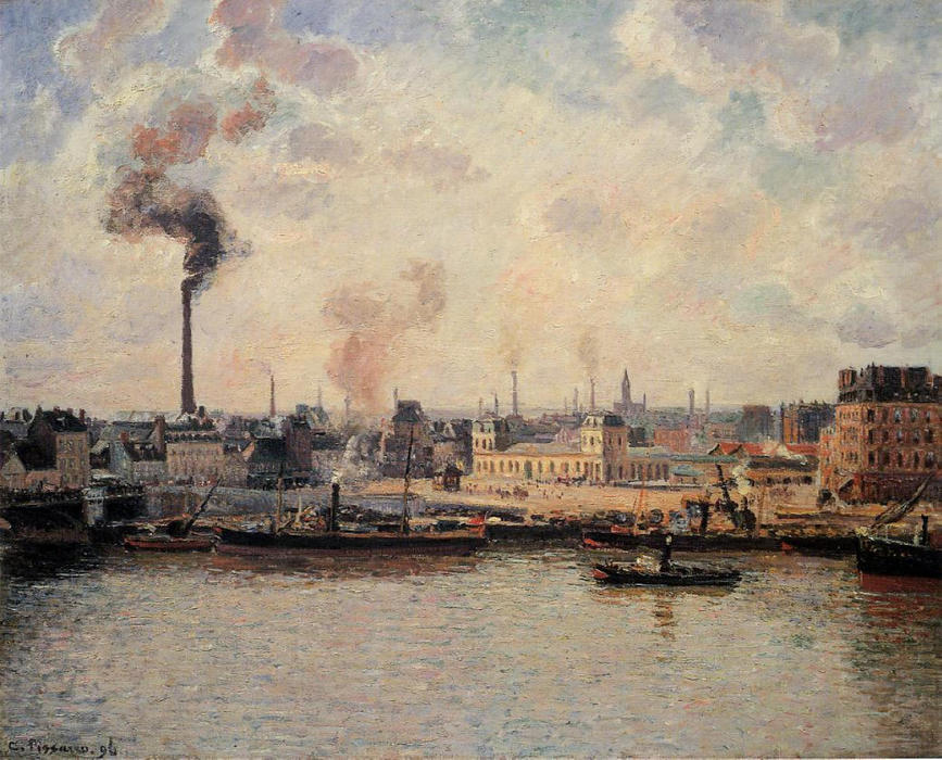 famous painting The Saint Sever Quay, Rouen of Camille Pissarro