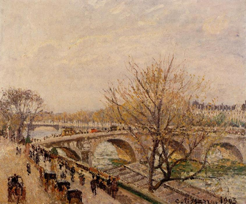 famous painting The Seine at Paris, Pont Royal of Camille Pissarro