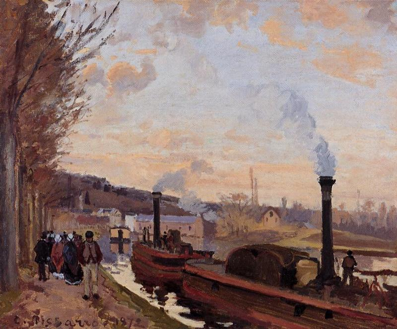 famous painting The Seine at Port Marly of Camille Pissarro