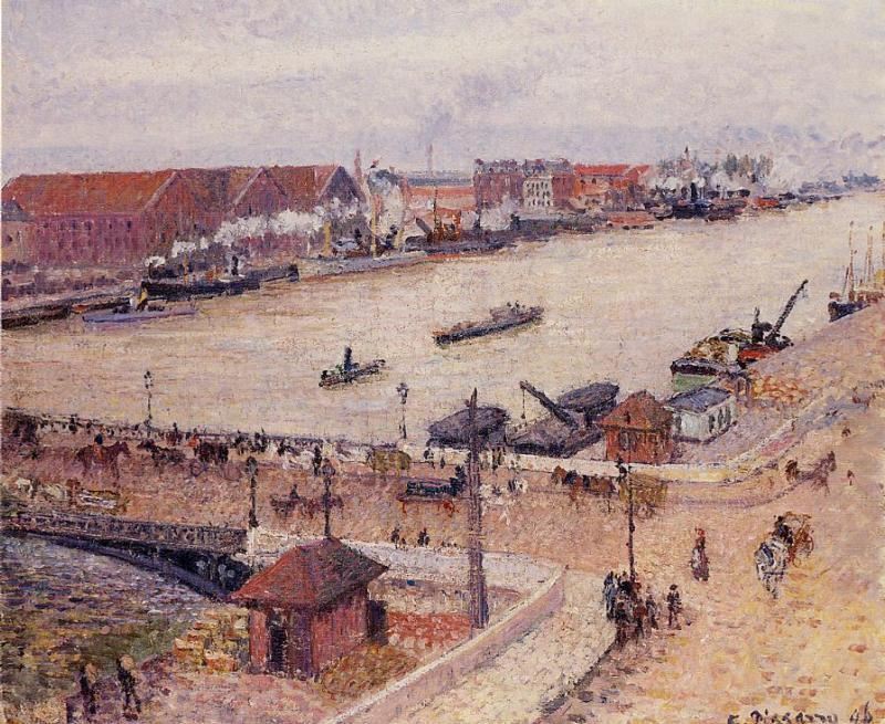 famous painting The Seine in Flood, Rouen of Camille Pissarro