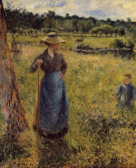 famous painting The Tedder of Camille Pissarro