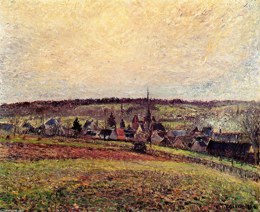 famous painting The Village of Eragny of Camille Pissarro