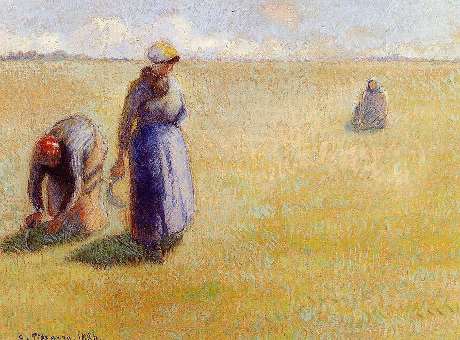 famous painting Three Women Cutting Grass of Camille Pissarro