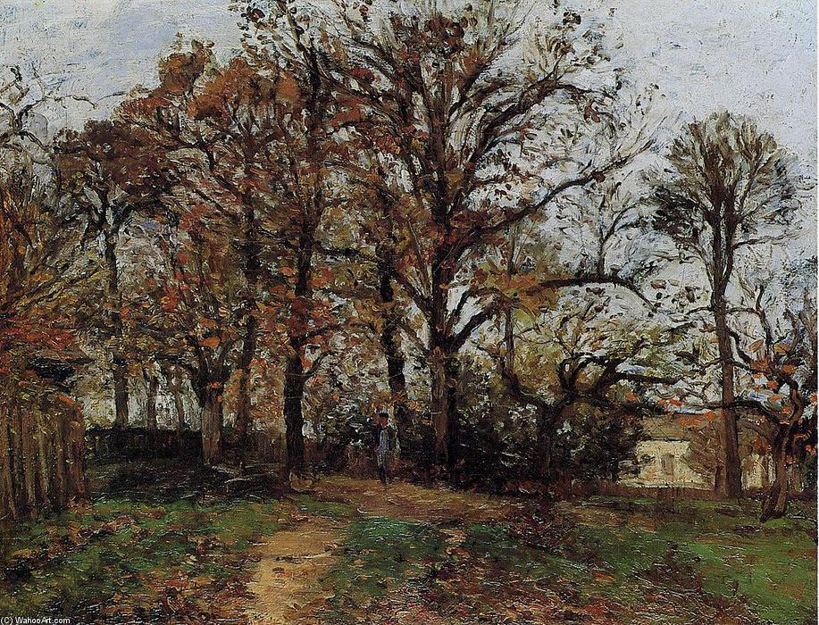 famous painting Trees on a Hill, Autumn, Landscape in Louveciennes of Camille Pissarro