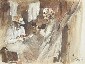 Camille Pissarro - Two men playing the guitar in an interior in San José