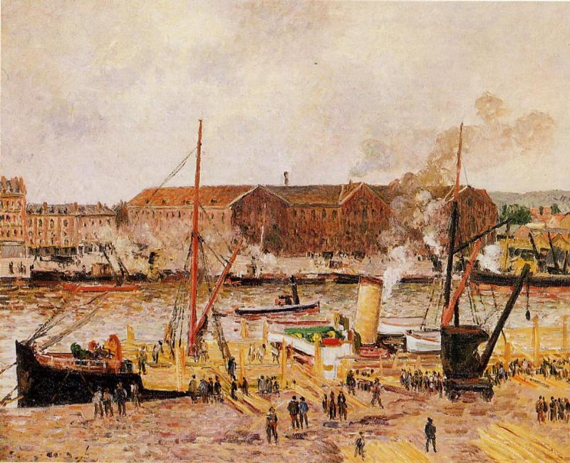 famous painting Unloading Wood at Rouen of Camille Pissarro