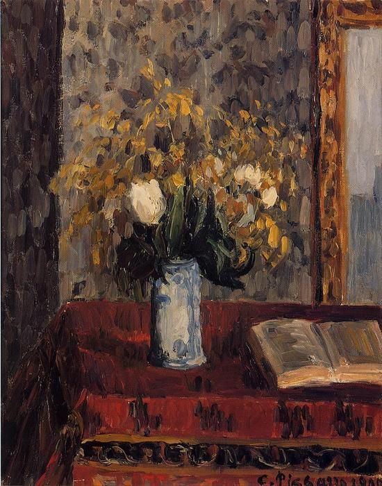 famous painting Vase of Flowers, Tulips and Garnets of Camille Pissarro