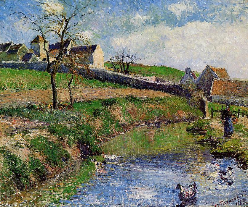 famous painting View of a Farm in Osny of Camille Pissarro