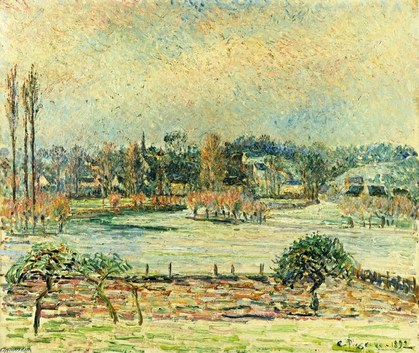 famous painting View of Bazincourt, Flood, Morning Effect of Camille Pissarro