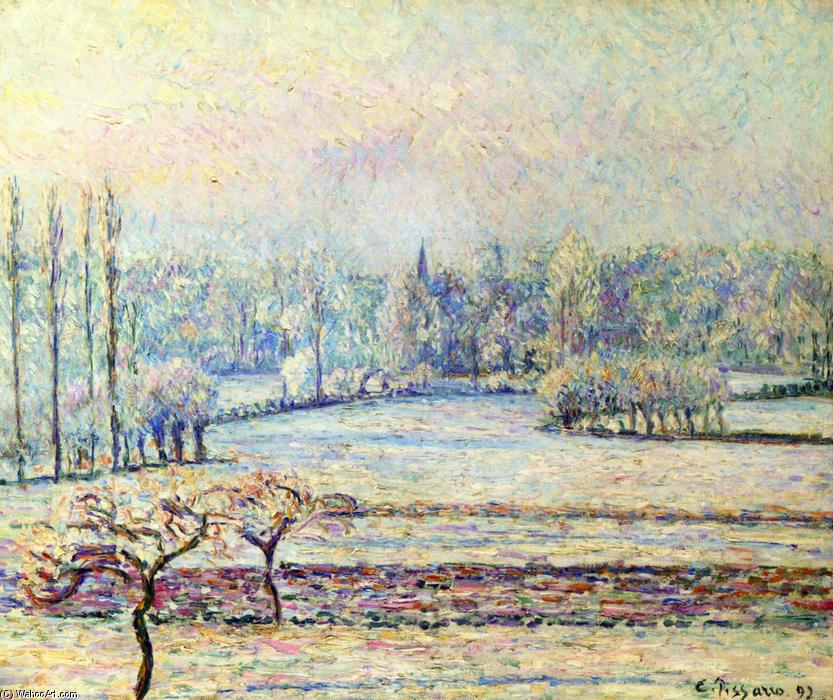famous painting View of Bazincourt, Frost, Morning of Camille Pissarro