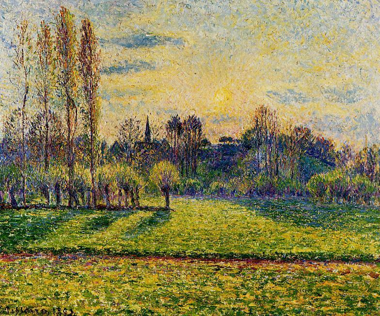 famous painting View of Bazincourt, Sunset of Camille Pissarro