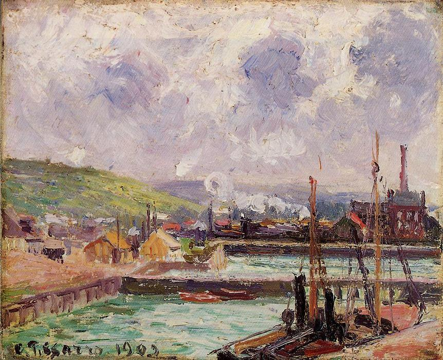 famous painting View of Duquesne and Berrigny Basins in Dieppe of Camille Pissarro