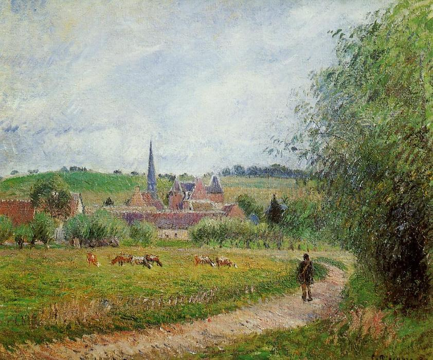 famous painting View of Eragny of Camille Pissarro