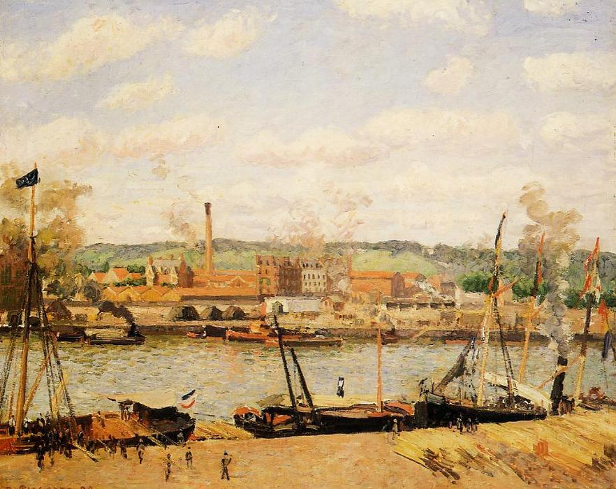 famous painting View of the Cotton Mill at Oissel, near Rouen of Camille Pissarro