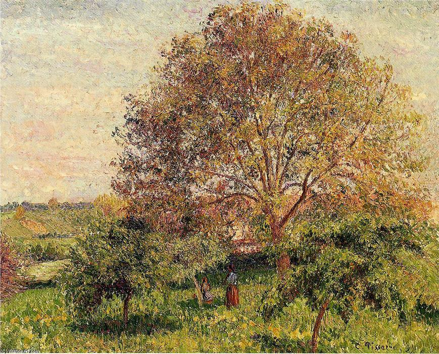 famous painting Walnut Tree in Spring of Camille Pissarro