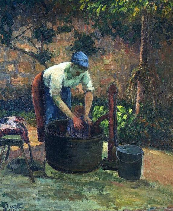 famous painting Washerwoman of Camille Pissarro