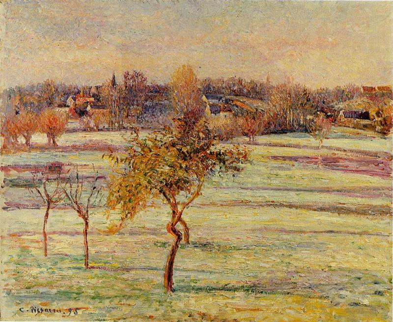 famous painting White Frost at Eragny of Camille Pissarro