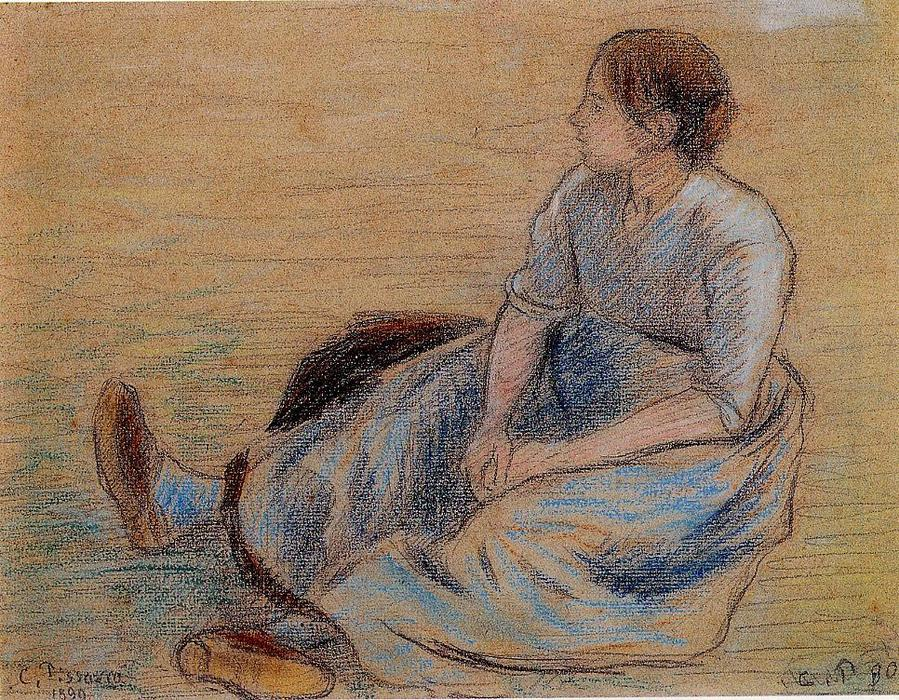 famous painting Woman Sitting on the Floor of Camille Pissarro