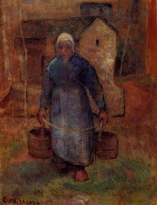 famous painting Woman with Buckets of Camille Pissarro