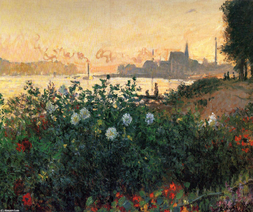 famous painting Argenteuil, Flowers by the Riverbank of Claude Monet