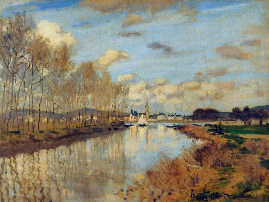 famous painting Argenteuil, Seen from the Small Arm of the Seine of Claude Monet