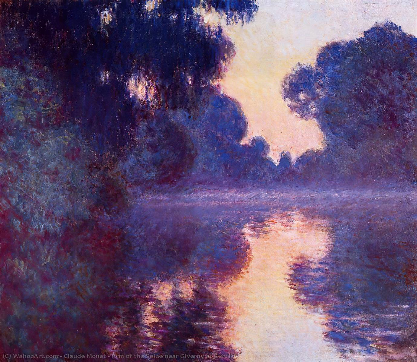 famous painting Arm of the Seine near Giverny at Sunrise of Claude Monet
