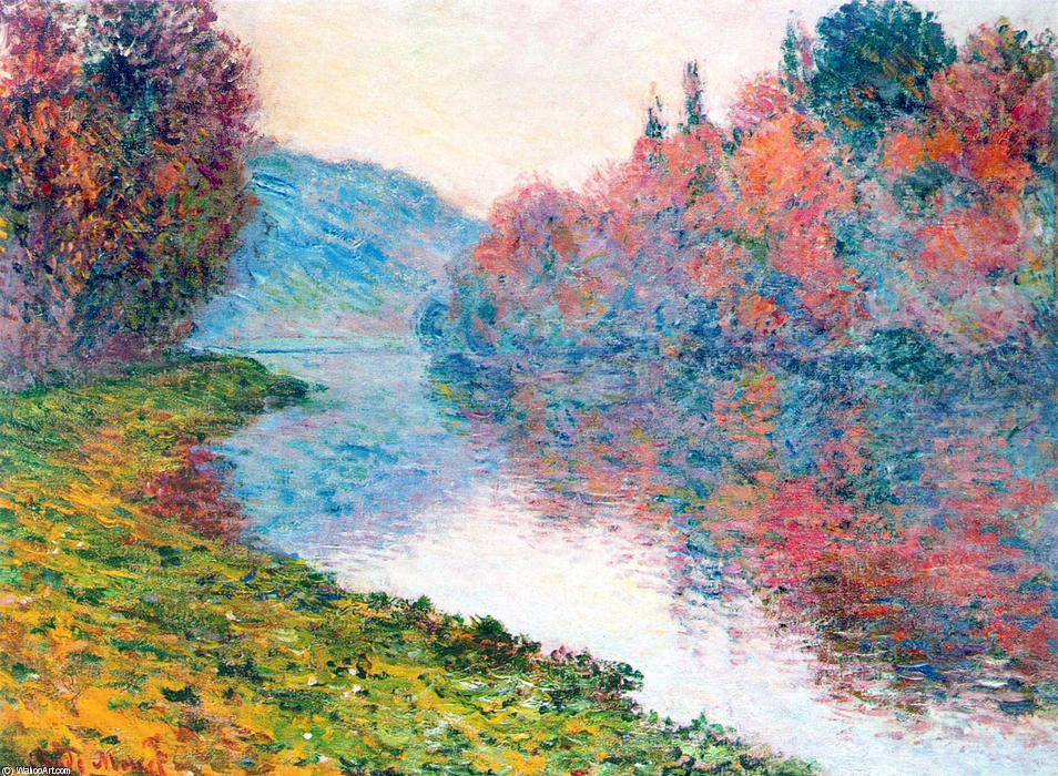 famous painting Banks of the Seine at Jenfosse - Clear Weather of Claude Monet