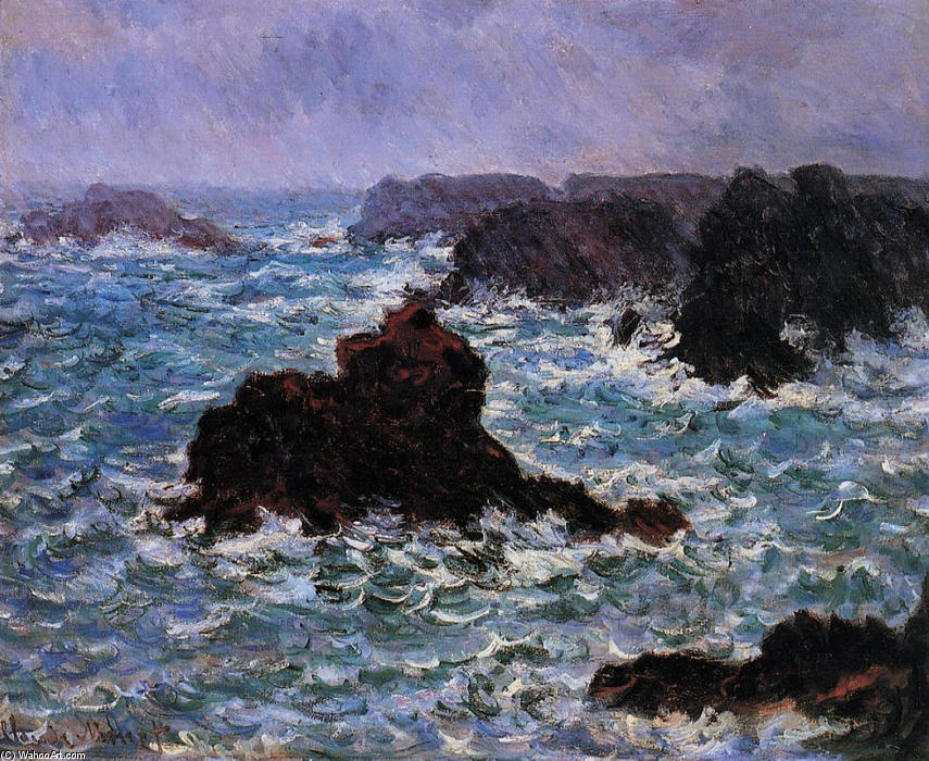famous painting Belle-Ile, Rain Effect of Claude Monet