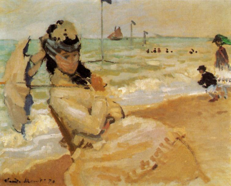 famous painting Camille on the Beach at Trouville of Claude Monet