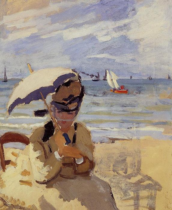 famous painting Camille Sitting on the Beach at Trouville of Claude Monet