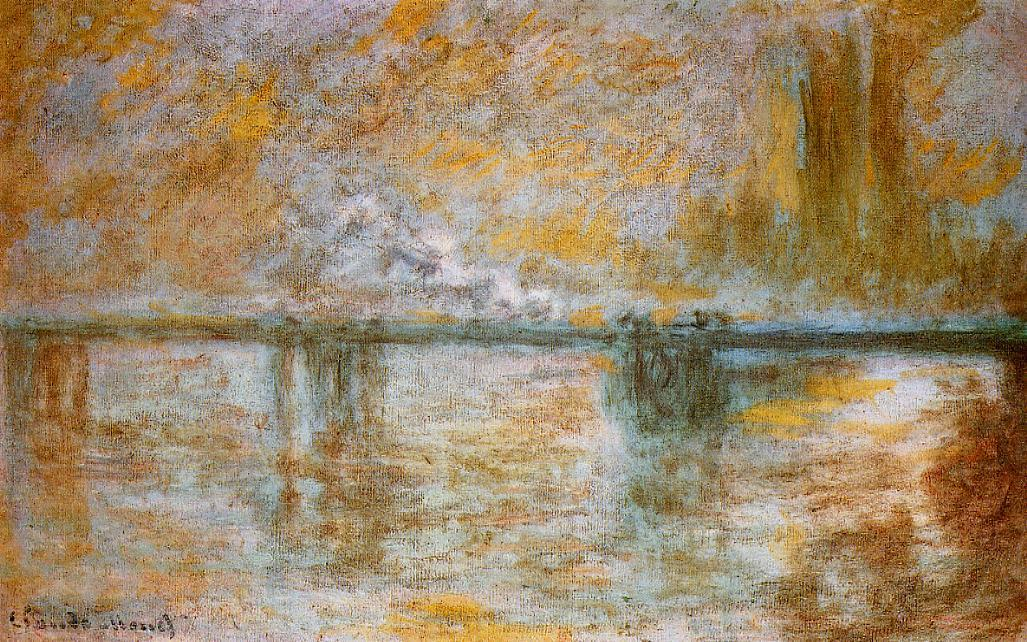 famous painting Charing Cross Bridge 1 of Claude Monet