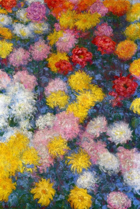 famous painting Chrysanthemums of Claude Monet